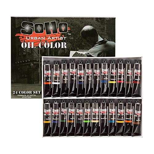 SoHo Urban Artist Oil Color Set - Artist Oils Butter Consistency, Excellent Pigment Load with Lightfast Results - Set of 24 Oils of Assorted Colors