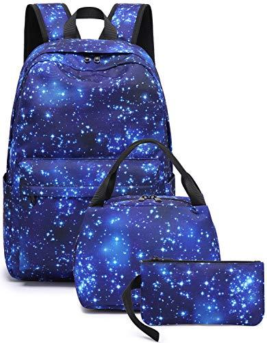 BLUBOON School Backpack Teen Girls Boys Galaxy Bookbag Set with Lunch Box Pencil Case Travel Laptop Backpack Casual Daypacks (Galaxy Blue-E0103-3)