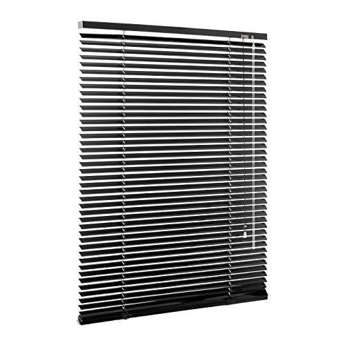 Ventanara Jalousie Aluminium Rollo Plissee Schalusie Jalousette Türrollo Rolladen viele Größen (90 x 130 cm, Schwarz matt)