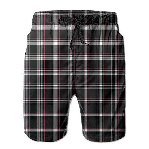 DLing Herren Badehose Golf GTI Karo Quick Dry Beach Board Shorts,M