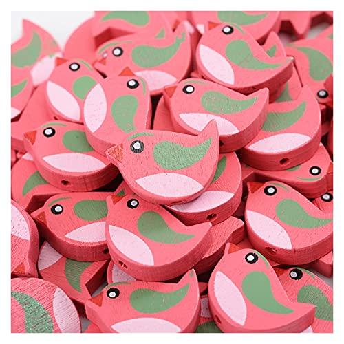 YINCHIE Inartificial 30pcs 14x21mm Bird Beads Lindo Dibujos Animados Separador Suelto PAL Cuentas de Madera Natural para Hacer Parrilla Pendiente Bricolaje Joyería de decoración para el hogar XAN8017