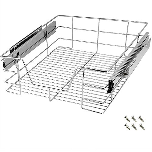 Deuba Küchenschublade 30 40 50 60 cm Verchromt 20 kg Belastbar Korbauszug Haushalt Teleskopschublade Schrankauszug 50 cm
