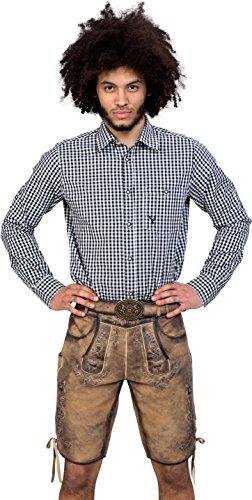 Almwerk Herren Trachten Lederhose kurz Modell Otto mit Gürtel in braun, Dunkelbraun und Hellbraun, Größe:46 Farbe:Braun