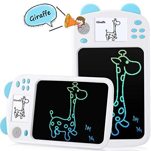 AGPTEK 8.5 Pulgadas Tableta de Escritura LCD con Pantalla Electrónica, Portátil Tableta de Dibujo con Imágenes Incorporadas, Admite Lectura de Voz, Apreder a Leer para Niños, Bebe, Azul