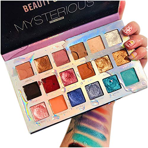 18 Colors Mercury Retrograde Palette, Ultra Pigmented Fine Pressed Eyeshadow Palette Mattes, Metallics, Glitter and Multi-reflective Pinks Blues Mysterious Powder Eye Shadow Palettes 1