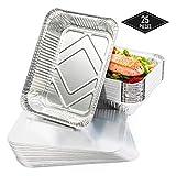 25 Bandejas de Aluminio Desechables con Tapas, 22 x 17 cm - Perfecto para Hornear, Asar y Cocinar - Calidad Superior, Seguro de Usar en Horno e Impermeable.