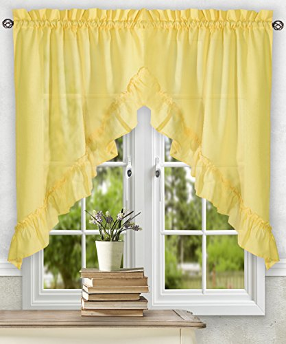 Simple Comfort Ellis Curtain Stacey 60-by-38 Inch Ruffled Swag Curtain (Yellow)