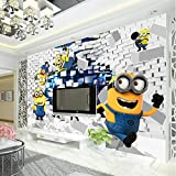 Fototapete 3D Minions Fototapete Cartoon Despicable Me Wandbild Seidentapete Jungen Schlafzimmer Kinderzimmer Dekor Art Home Decoration Funny 150 * 105Cm
