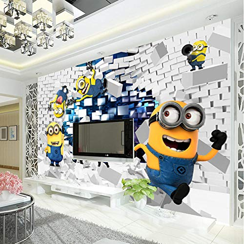 Fototapete 3D Minions Fototapete Cartoon Despicable Me Wandbild Seidentapete Jungen Schlafzimmer Kinderzimmer Dekor Art Home Decoration Funny 350 * 245Cm