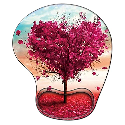 Gaming Mouse Pad with Wrist Support,Glorious Ergonomic Mousepad , Cute Computer Laptop Mouse Pads as Home Office Decor Desktop Accessories or Ideal Heart Pink Tree