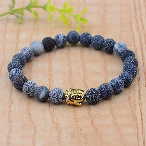 KEEBON Pulsera de piedra Mujer, 7 chakra azul natural perlas semipreciosas brazaletes elásticos buddha joyería de nacimiento de la piedra de nacimiento de la joyería de la raza de yoga Energía Reiki D