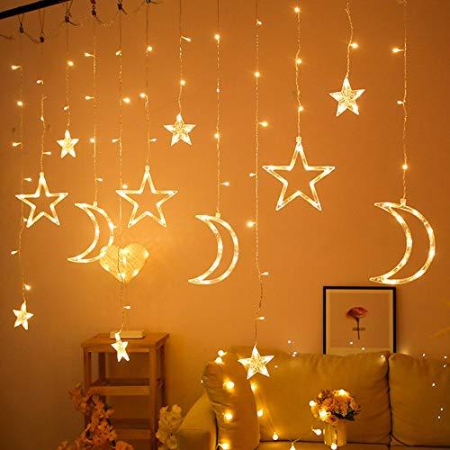 Dkhsy 3,5m Star Moon String Lámparas de cuerda, lámpara de cortina decorativa con 138 LED, 8 modos intermitentes Lámparas de hadas para jardinería Decoración de la fiesta de bodas