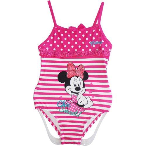Disney Minnie Mouse Mädchen Einteiler Badeanzug Pink – Größe 3/4/5/6/7/8 Jahre Gr. 7 Jahre/Höhe 128 cm/Brust 54 cm, rosa / weiß