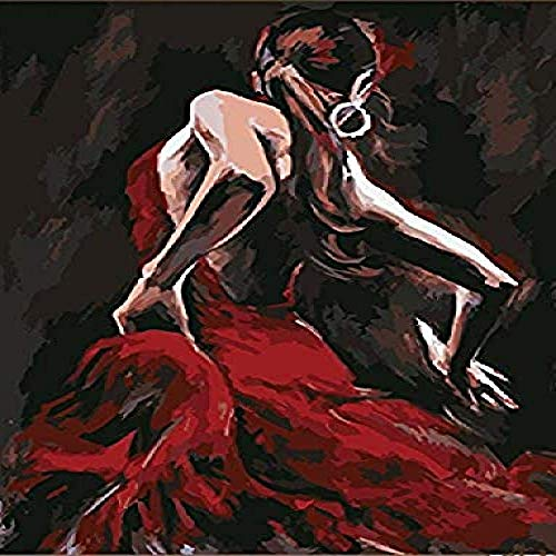 clockfc Paint by Numbers Digital DIY Paint Principiantes Adultos Niño Red Gress Bailarina Lino Lienzo Acrílico Imprimir Palabra Pintura Regalo & nbsp;40x50cm (con Marco)