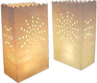 AIBER White Paper Tea Light Candle Lantern Bags Wedding Party Garden BBQ Xmas Decor(Firework) Pack of 30