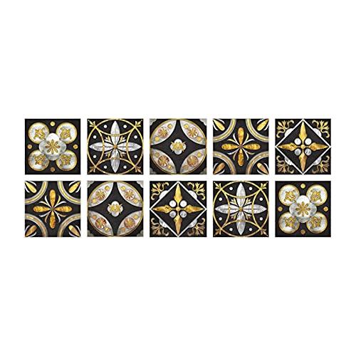 QOXEFPJZ cenefa adhesiva cocina 1 0PCS Etiquetas engomadas de la decoración de la pared, Renovación del gabinete High Luxury Black Gold Tile Pegatinas de la pared Decoración de la pared Beautificación
