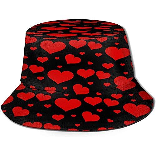 VANOE Bucket Hat Patrón de corazón PNG Sombreros de Pescador Sombrero de Sol portátil Plegable Sombrero de Cubo Empacable Sombrero de Pesca Transpirable a Prueba de Sol y UV