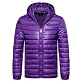 Men's Full Zip Down Jacket with Hooded Lightweight Down Puffer Coat Side Pockets Water-Resistant (L, Purple)