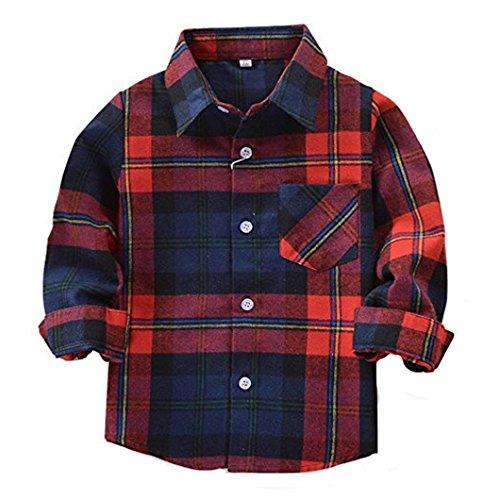 HAOKTY Jungen Mädchen Langarm Hemden Plaid Kariert Freizeithemd Tops Baumwolle Sweat Shirt (Color 7, 100)