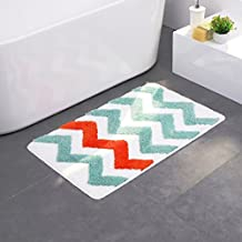 Microfiber Mat Rug Bath Mat Non-Slip Pad with Green and Orange Stripes for Kitchen Indoor Rugs Bathroom Mats