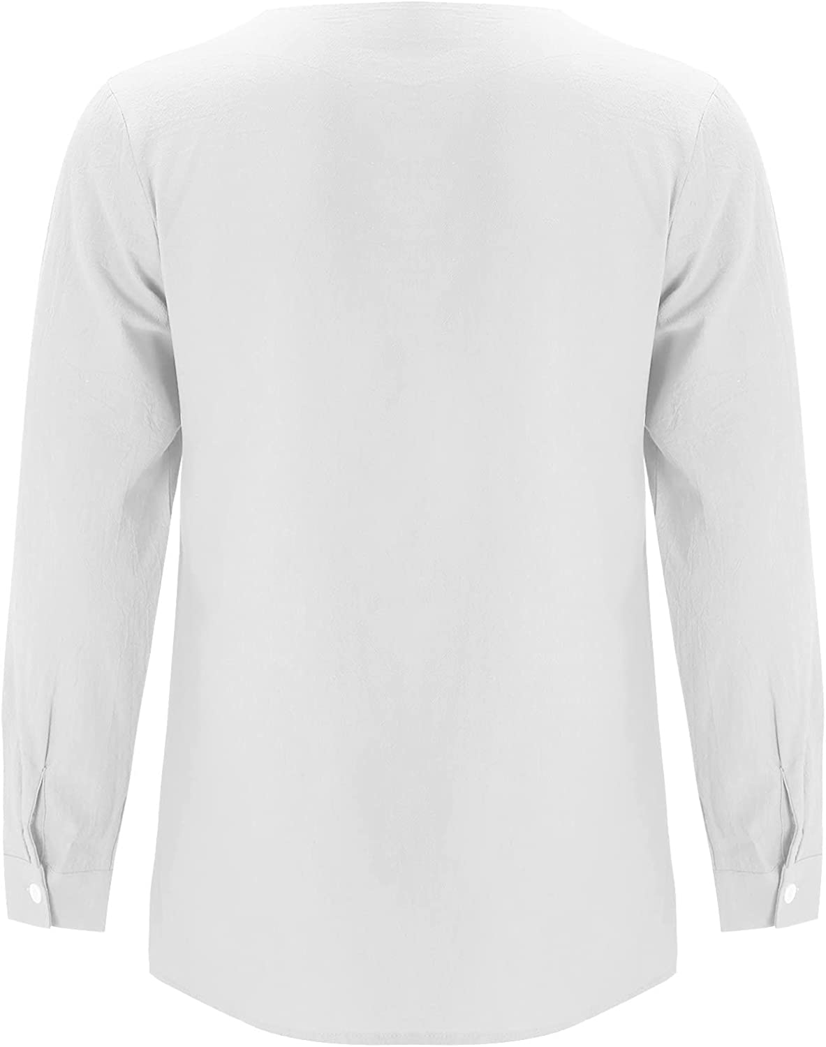 xoxing Shirts for Men Casual Autumn Plus Size Solid Color Long-Sleeved Cotton and Linen Shirt Collarless Top Pullovers