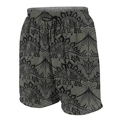 Meiya-Design Stegosaurus Lace Negro Gris Estampado Hombre Traje de baño Trunks Surf Beach Shorts Pantalones cortos de secado rápido con bolsillos