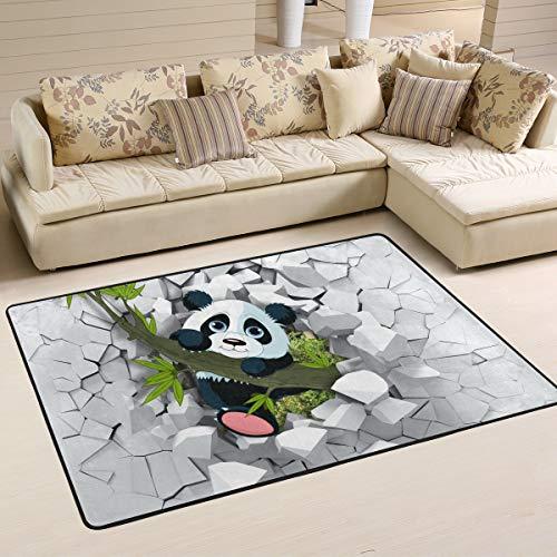 Ahomy Area Teppich 3D Panda an der gebrochenen Wand, multi, 182,9 x 121,9 cm