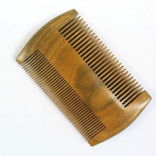 Peigne à barbe en bois de santal, antistatique pour homme, peigne de poche en bois de santal marron, longueur 9,5 cm.