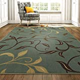 Ottomanson Home Collection Modern Area Rug, 5' X 6'6', Seafoam Leaves