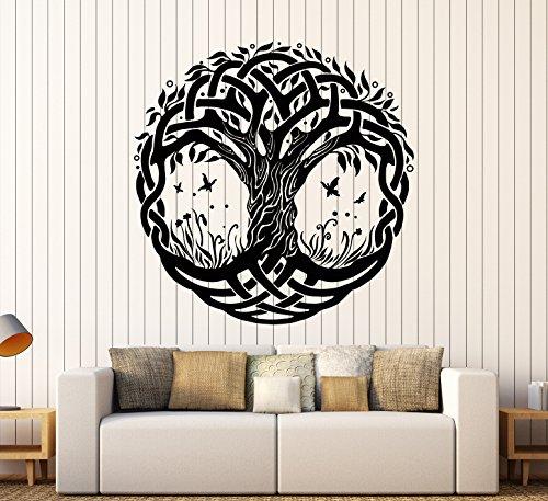DesignToRefine Vinyl Wall Decal Celtic Symbol Tree of Life Nature Butterflies Stickers Large Decor (1349ig) Black