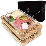 GLASWERK Aufschnittbox (2er Set) - stapelbare Aufschnittbox für die Aufbewahrung und das Servieren von Wurst- und Käseaufschnitt