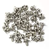 PZRT 40pcs M3x8 Terminal Block Screws with 7x7mm Square Washers, Nickel Plated Carbon Steel, Silver