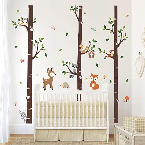 decalmile Wandtattoo Groß Birke Wandsticker Bäume Wald Tier Hirsch Wandaufkleber Babyzimmer Kinderzimmer Schlafzimmer Wanddeko (XL)(H: 174cm)