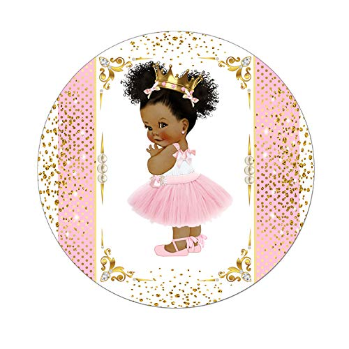 Little Princess Labels Baby Shower Favor Stickers, Set of 40 African American Princess Royal Birthday Stickers