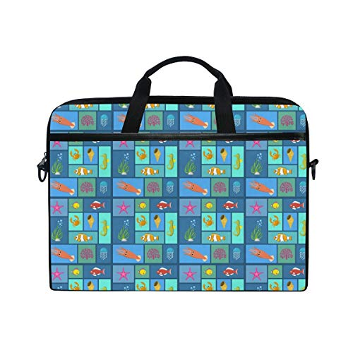 FOURFOOL 15-15.6 inch Laptop Bag,Plants and Fish Swimming Seaweed Aquarium Or Underwater Elements Sand Moss Jellyfis,New Canvas Print Pattern Briefcase Laptop Shoulder Messenger Handbag Case Sleeve