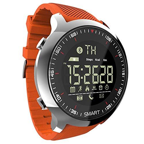 WRJY Reloj Inteligente Bluetooth para Hombre Deportes al Aire Libre Impermeable Reloj de Pulsera Digital Cronómetro Calorías Podómetro Multifuncional Rastreador de Actividad Naranja Ban