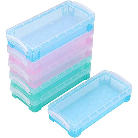 Sumnacon 6pcs superposable boîte à crayons boîte de rangement pour crayon de couleur(rose+vert+bleu)