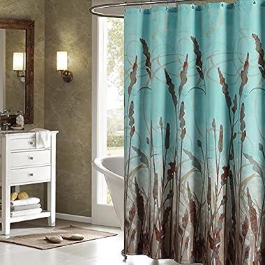 DS BATH Montana Green Shower Curtain,Aqua Polyester Fabric Shower Curtain,Plants Shower Curtains for Bathroom,Floral Bathroom Curtains,Print Waterproof Shower Curtain,72  W x 78  H