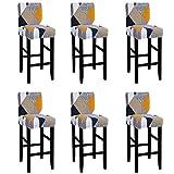IVYSHION Housse de Tabouret de Bar Imprimé Couverture pour Tabouret de Bar avec Dossier Extensible Protecteur Chaise de Salle à Manger Doux et Confortable pour Chaise de Salle à Manger 6PCS