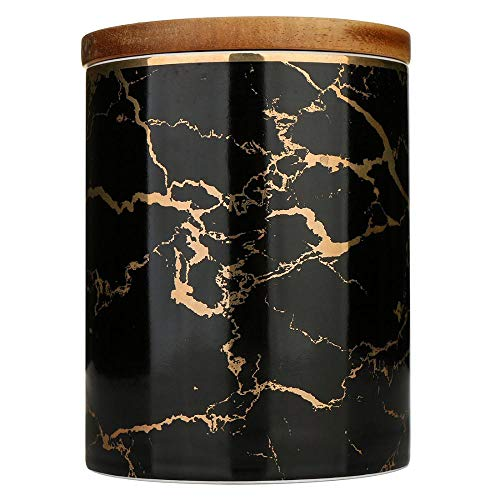 Ceramic Storage Containers, Black Marble Pattern Food Storage Jars with Airtight Wooden Lid Serving for Coffee, Tea, Sugar, Best for Home Decoration (660ml)