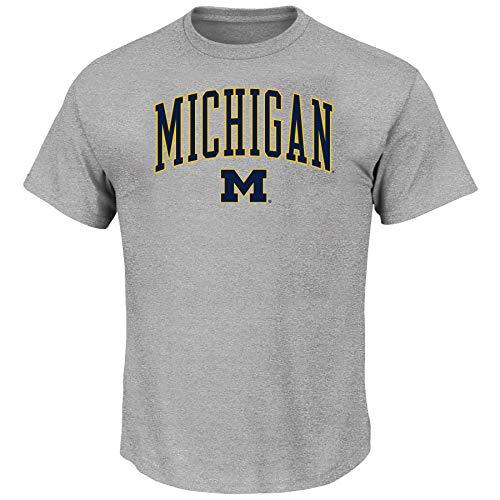 NCAA Men's Big and Tall Short Sleeve Cotton Tee Shirt Michigan Wolverines, HEATHER GREY, 4X