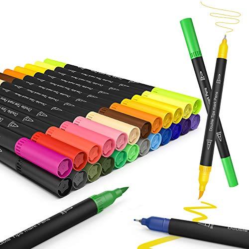 Juego de rotuladores,JPARR pinceles para acuarela, rotuladores de 24 colores con dos puntas, rotuladores de pino,rotuladores a base de agua, rotulador resaltador para caligrafía