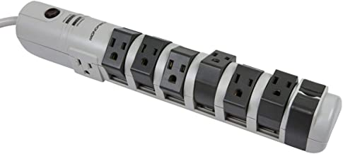 Monoprice 8 Outlet Rotating Surge Strip -Grey | UL Rated 2, 160 Joules with Grounded and Protected Light Indicator