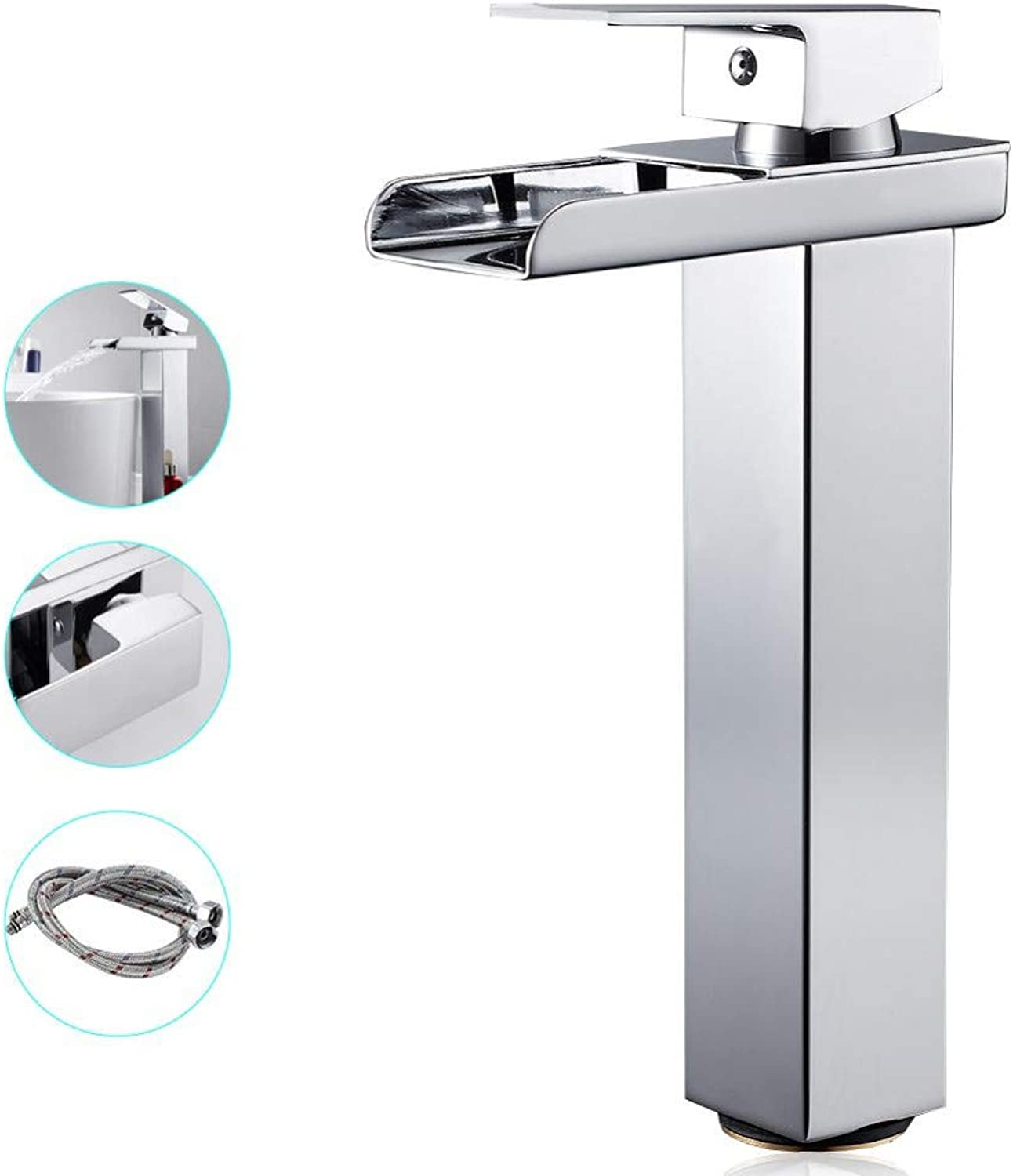 ZHFJGKR&ZL Basin Faucet Mixer Taps Bathroom Sink Tall Single Lever Chrome Waterfall Bathroom Wash Faucet Sinks Cold And Hot Water.with hose size 1.2