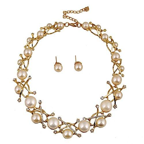 1hochwertige Schmuck Set- Vintage Damen Halskette mit Ohrringe, golden MetallKette mit schönen Großen Perlen und glänzenden Kristallen, Mode Damen Schmuckset,einzigartiges Design, top Qualität,Kt006