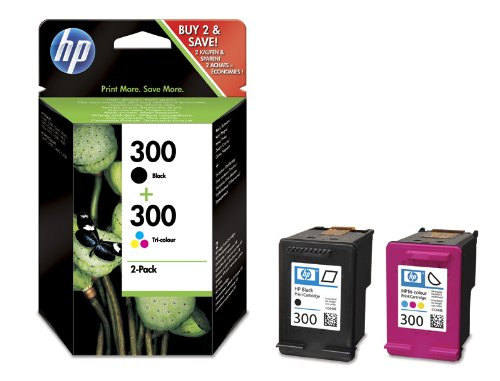 HP Original CN637EE / 300, für DeskJet F 4583 2X Premium Drucker-Patrone, Schwarz, Cyan, Magenta, Gelb, 2 x 4 ml