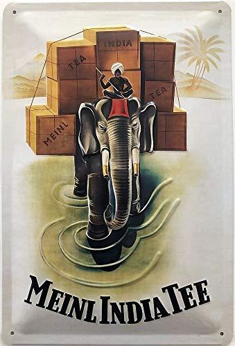 Deko7 Blechschild 30 x 20 cm Vintage Werbung - Meinl India Tee