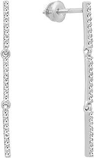 Dazzlingrock Collection 0.25 Carat (ctw) 10K Gold Round White Diamond Ladies Linear Bar Drop Earring 1/4 CT
