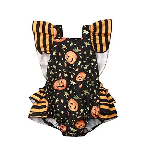 Weilov Vêtements D'automne Et D'hiver, Body Halloween Girl Pumpkin Creeper Body Outfit Confortable Romper Baby Casual Jumpsuit