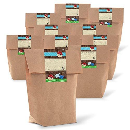 25 kleine braune Geschenktüten Papier-Tüten + 25 Geschenk-Aufkleber Sticker PIRATEN DANKE 14 x 22 x 5,6 cm Mitgebseltüten Kindertüten Jungen Geschenk-Verpackung give-away Geburtstags-Tüte Party Kinder